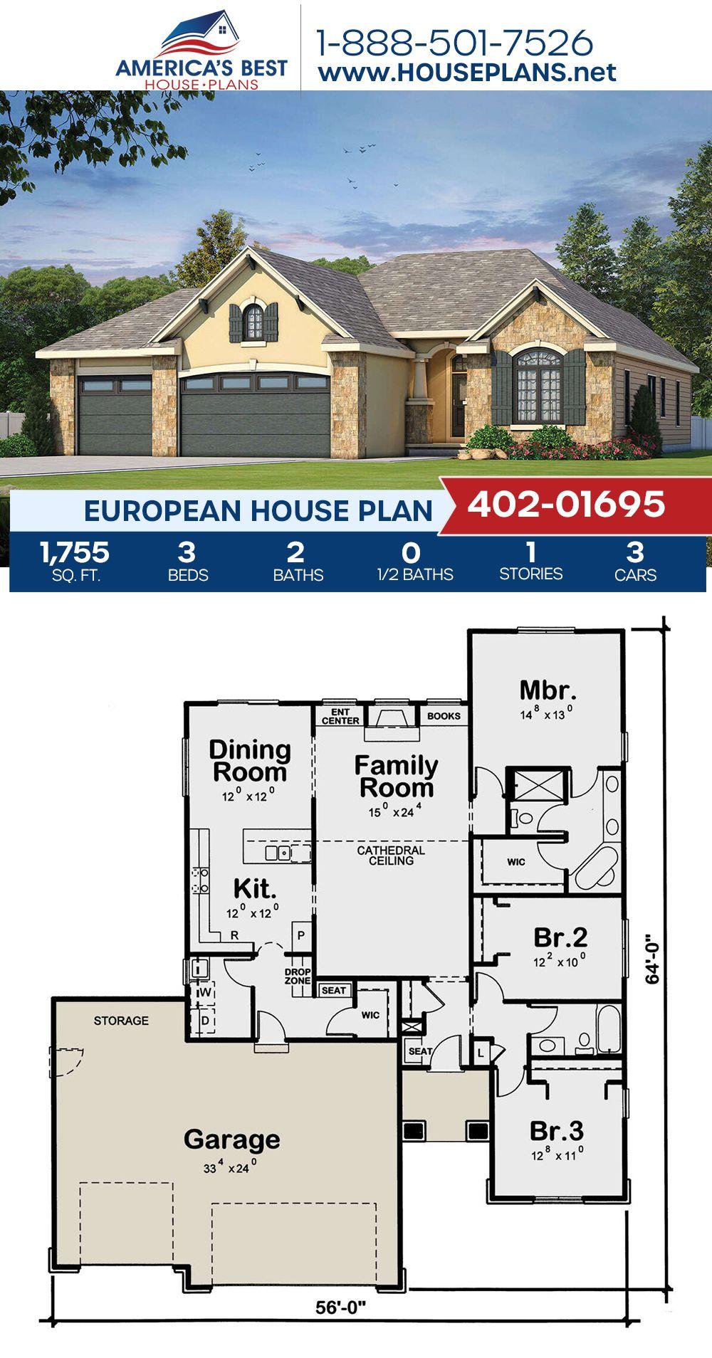 House Plan 402 01695 European Plan 1 755 Square Feet 3 Bedrooms 2 Bathrooms In 2021 House Plans European House Plans European Plan