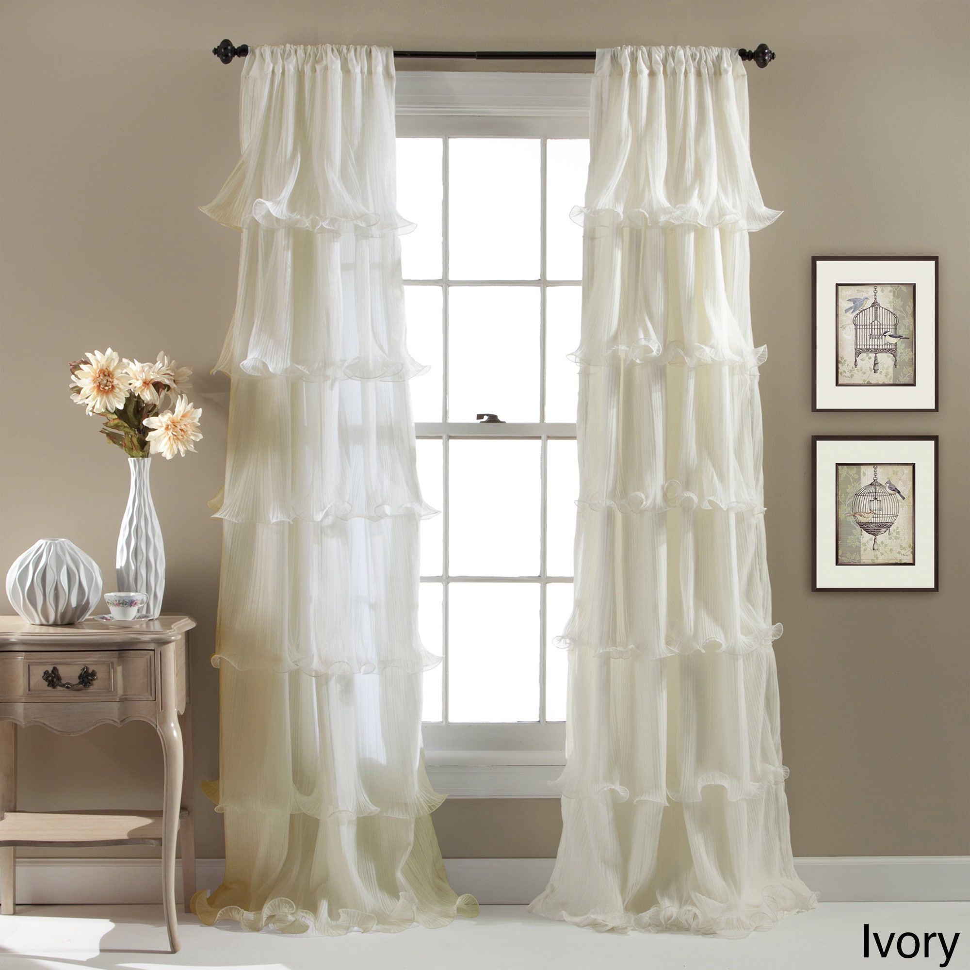 Lush Decor Nerina Ruffled Curtain Panel 54 X 84 Free Shipping On Orders Over