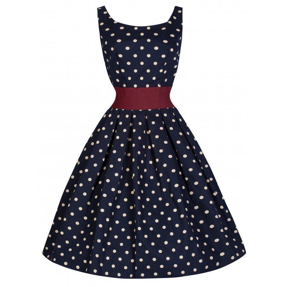 Lana\' Playful Polka Dot 50\'s Style Dress With Cinch Waist Belt ...
