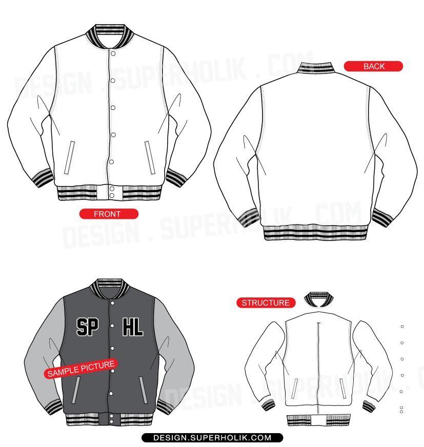 varsity jacket template hellovector cads patterns illustration
