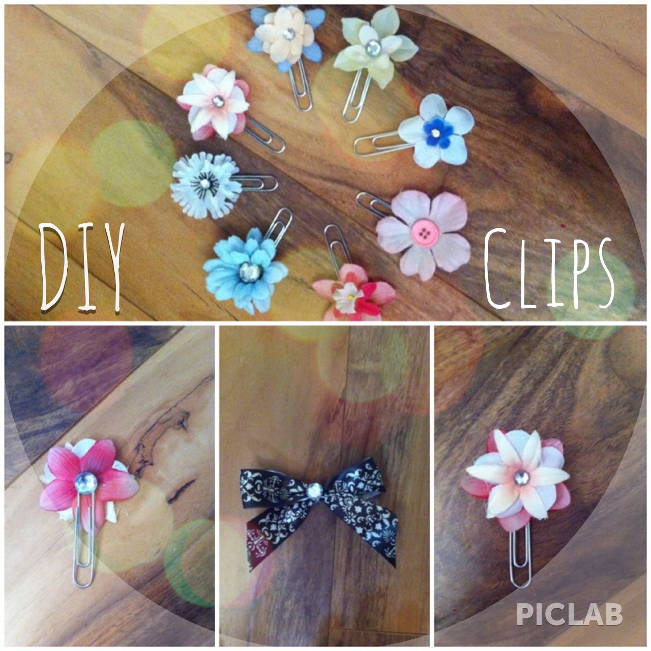 DIY bookmark clips: Hot glue flowers to paper clips and add sequins!