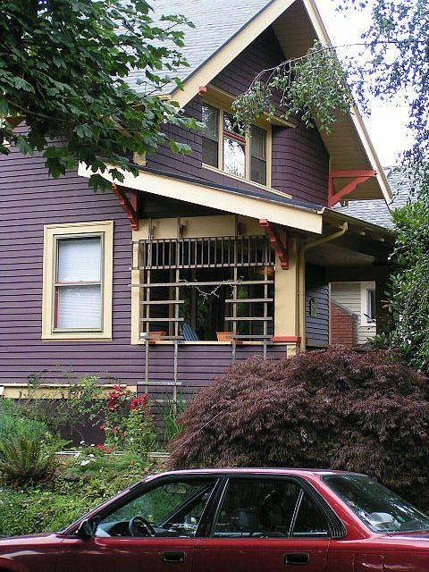 Eggplant House Yellow Trim Exterior House Paint Color Combinations Exterior Paint Colors For House House Paint Exterior