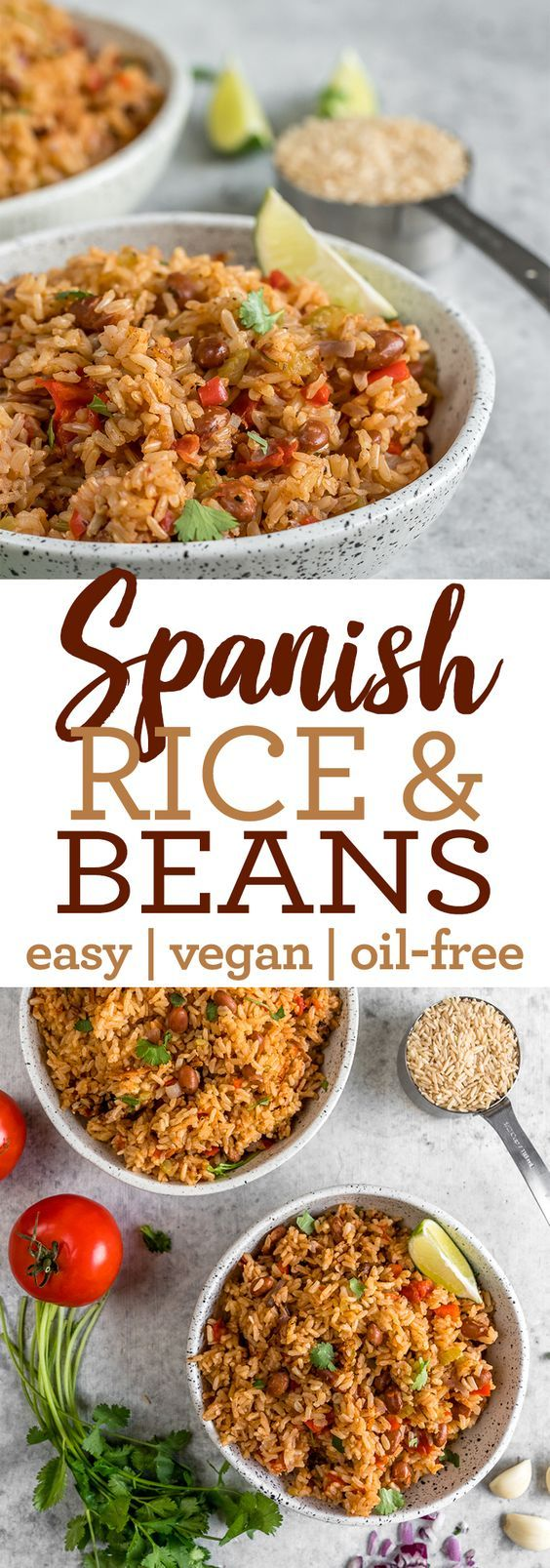 Vegan Spanish Rice and Beans (healthy & oil-free) #ricecookermeals