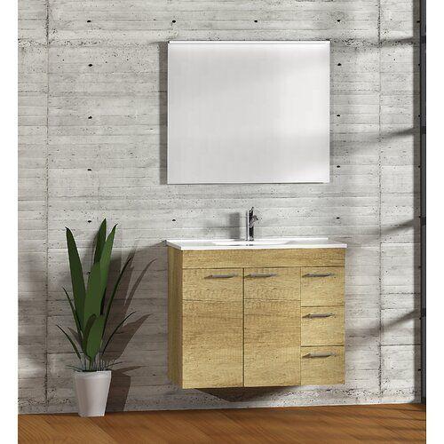 Symple Stuff Bathroom 900mm Wall Hung Single Vanity Unit Single