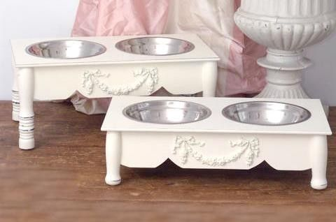 White Shabby Chic Dog Bowls Feeder For Small Dogs With Images