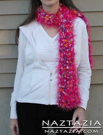 Free Pattern Crochet Fuzzy Eye Lash Eyelash Yarn Scarf Crocheted