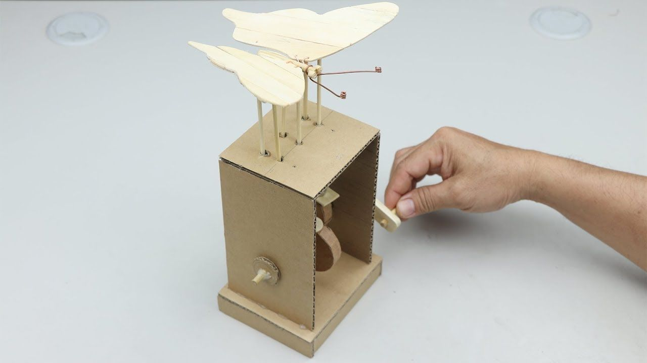 Wow Amazing Diy Cardboard Butterfly Automata Toy Diy Cardboard Cardboard Automata