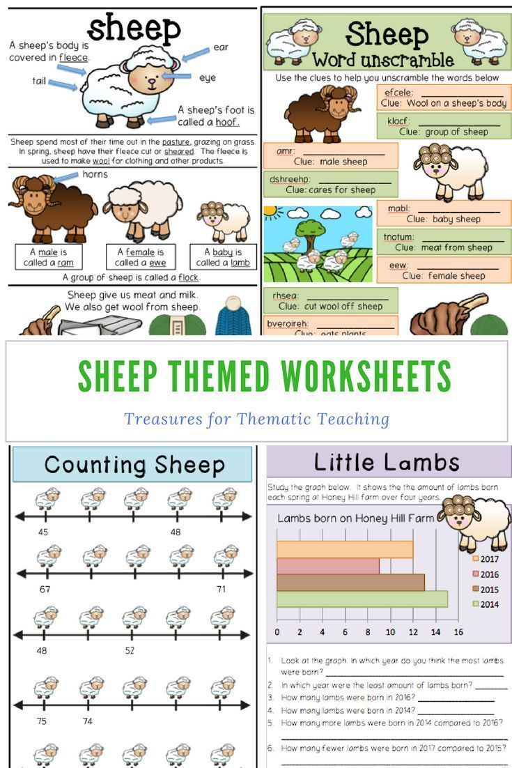 Farm Theme Sheep Pack Reading, Writing, Language and Math