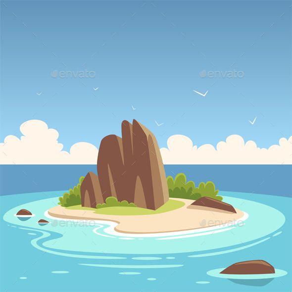 Tropical Island Cartoon Island Cartoon Background Cartoon Illustration