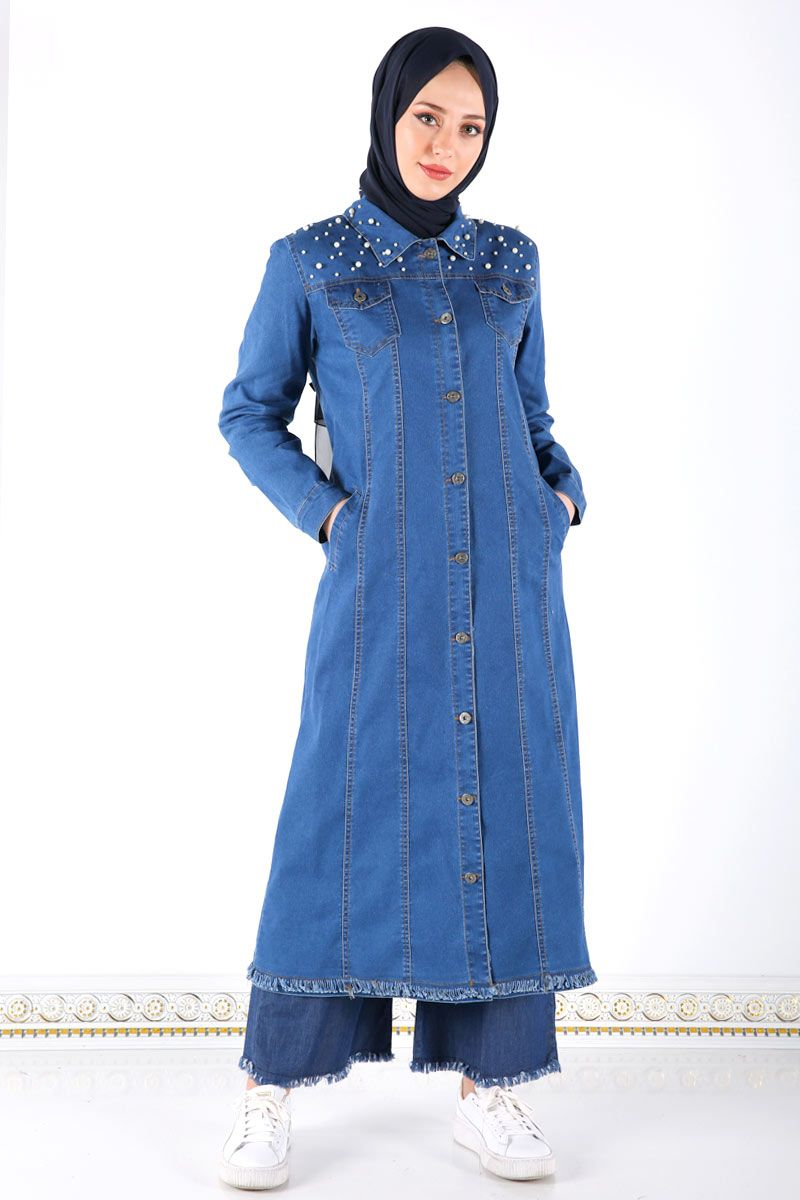 Incili Uzun Kot Ceket Tsd7530 Koyu Kot Ceket Kotlar Giyim
