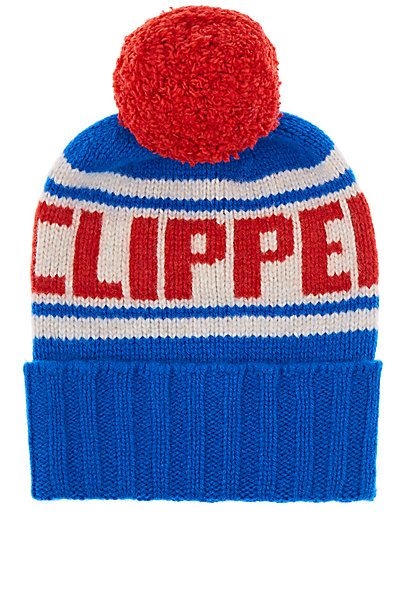 """We Adore: The """"LA Clippers"""" Cashmere Pom-Pom Beanie from The Elder Statesman X NBA at Barneys New York"""