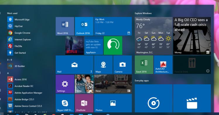Windows 10 IP Build 14328: c'è il nuovo Menu Start e molto altro   Video e Download ISO   HTNovo