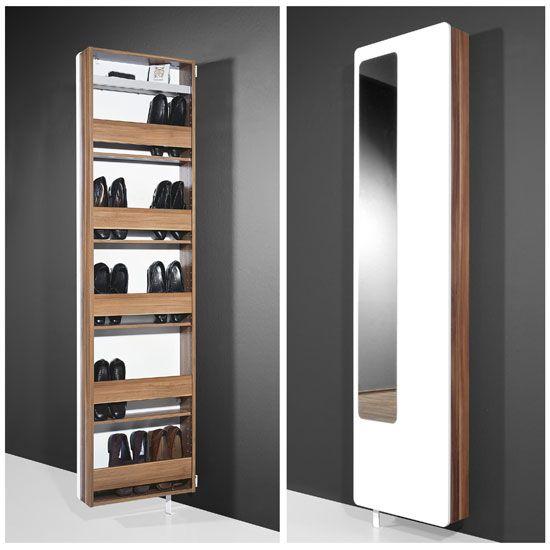 White Hi-Gloss Rotating Shoe Storage with Mirror, 1186-94 ...
