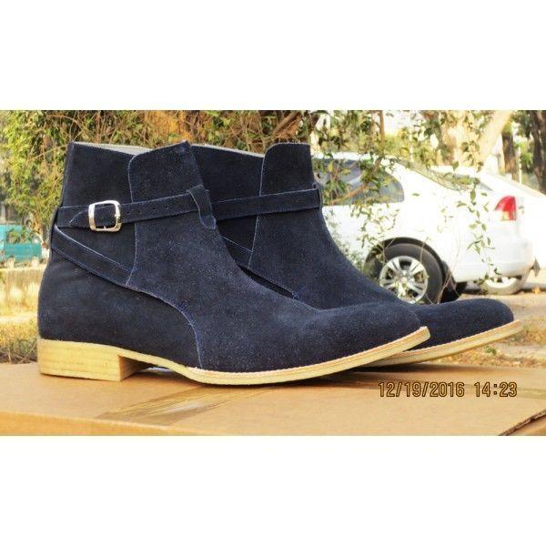 700313d903e Handmade Men's Jodhpurs Black Suede Boots, Fashion Crape Sole Ankle Fashion  Boot