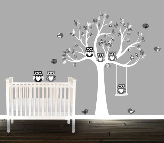 black and grey owl wall decals, nursery tree, patterns, nursery
