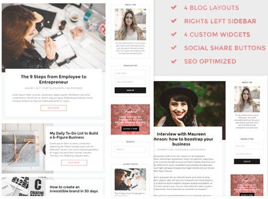 Theme Tribe - Wordpress - femenine design for bussines women ...