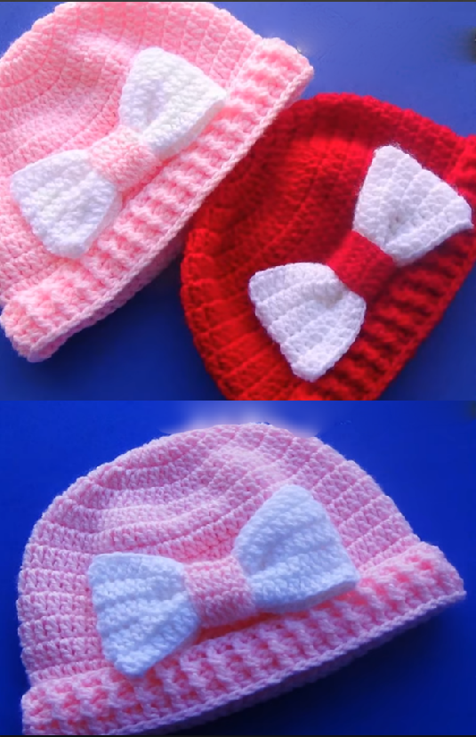 baby hat with bow | Maggie\'s Crochet - All About Crocheting Group ...