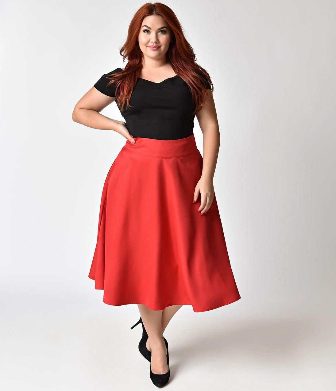2fef0c1bccf3d Unique Vintage Plus Size Retro Style Apple Red High Waist Vivien Swing Skirt