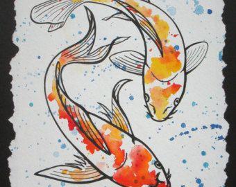 Trois Koi Impression Aquarelle 3 5x10 Peinture Koi Art Koi