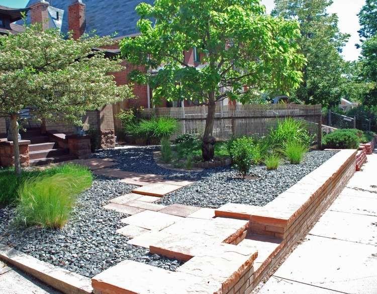 moderne Vorgartengestaltung mit Kies und Trittplatten Ideen rund