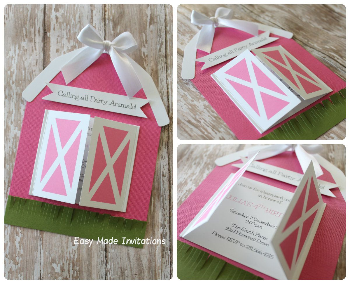 Barn birthday invitations pink crafts paper crafting pinterest barn birthday invitations pink filmwisefo