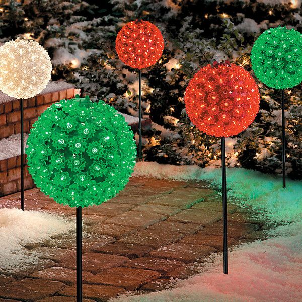 improvements starlight sphere pathway marker christmas decor clear 45 liked on polyvore featuring home home decor holiday decorations christmas