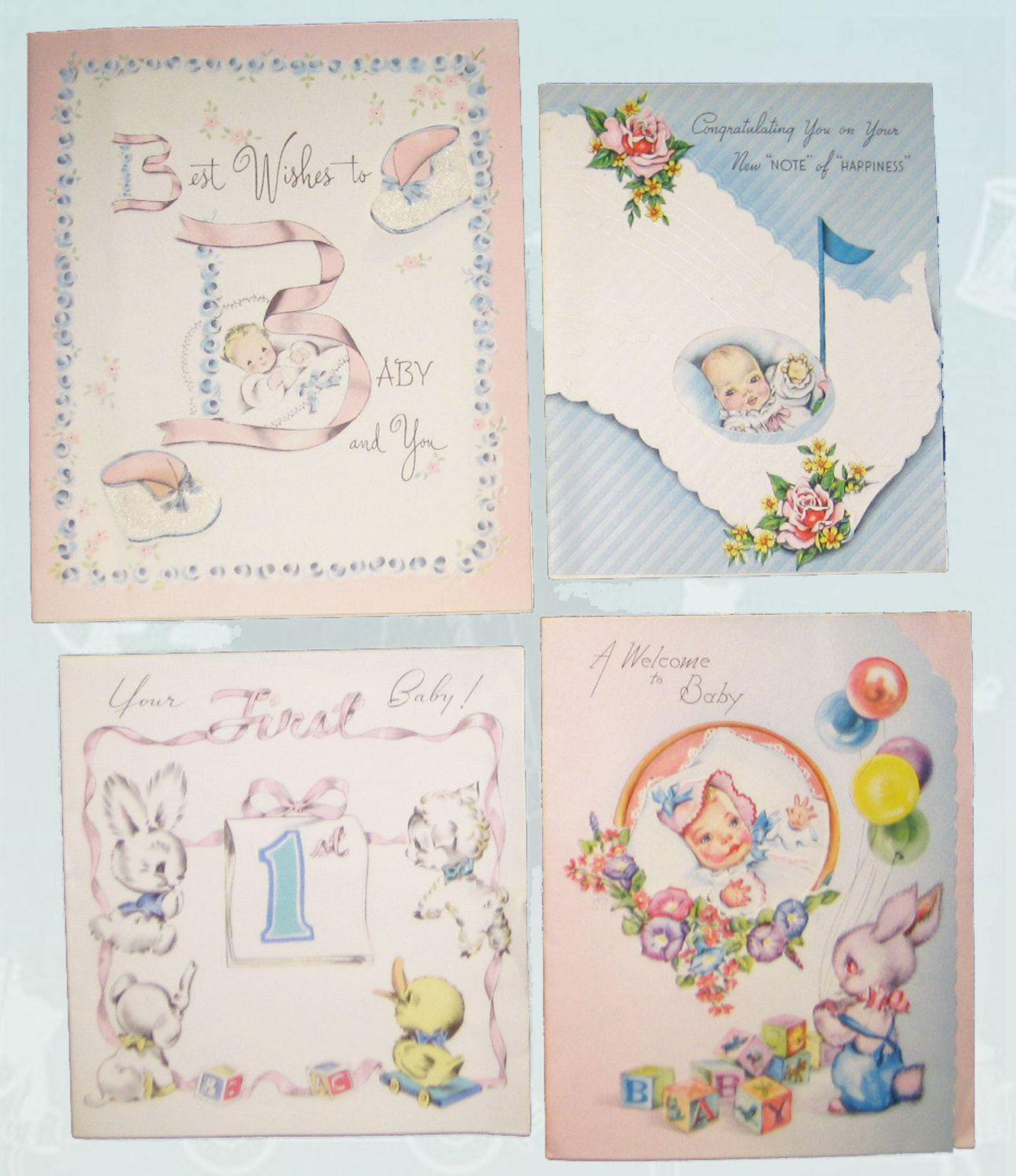 Vintage new baby congratulations greeting cards retro 1940s baby 4 vintage new baby congratulations greeting cards retro baby cards scrapbooking mixed media collage nursery decor craft supplies kristyandbryce Image collections