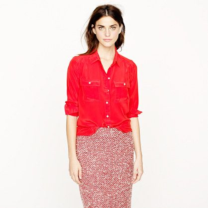 db5cc83aee879 Blythe blouse in silk - red white - jcrew