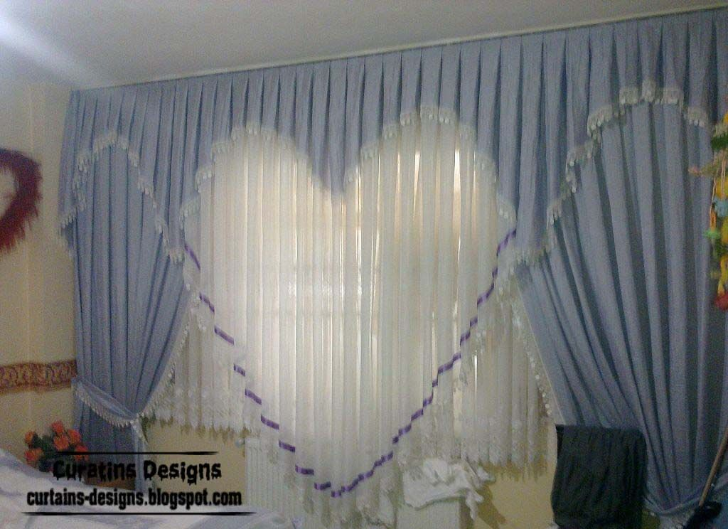 Romantic curtain design ideas, blue heart style, girls bedroom ...