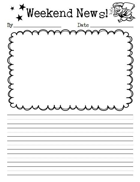 Weekend News Template Google Search Writing Templates Kindergarten First Grade Writing Kindergarten Writing