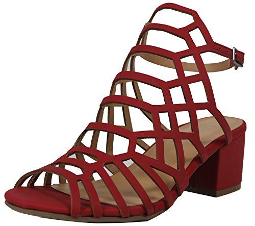 bf0139c93f3 City Classified Womens Open Toe Strappy Cutout Ankle Strap Chunky Mid Heel  Sandal Red 85 M US Women     Click the VISIT button for detailed description