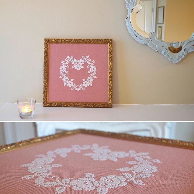 French Rose Heart Cross Stitch Pattern ~ A sincere and pretty pattern. Sometimes less is more. Shabby Chic. Romantic. French. Vintage. Sweet. Lovely. Heirloom. Sew French Cross Stitch.