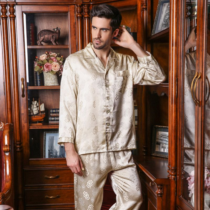 YIER Brand Men 100% Silk Pajama Long-Sleeve Men Pyjamas Men s Sleepwear  Sets Pants eb237908c