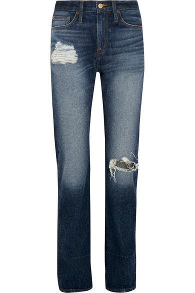 J.crew Woman Distressed High-rise Boyfriend Jeans Indigo Size 29 J.crew