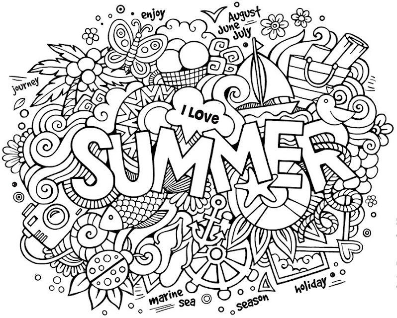 Summer Doodle Coloring Pages  Word drawings, Word doodles, Doodle