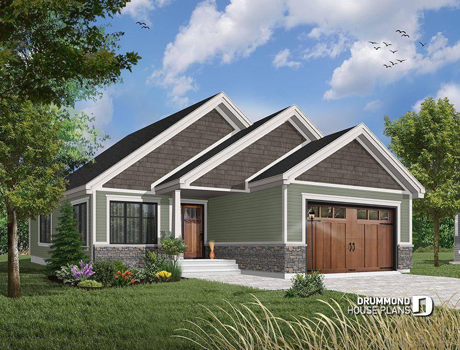 Cozy new craftsman bungalow ideal narrow lot house plan 2