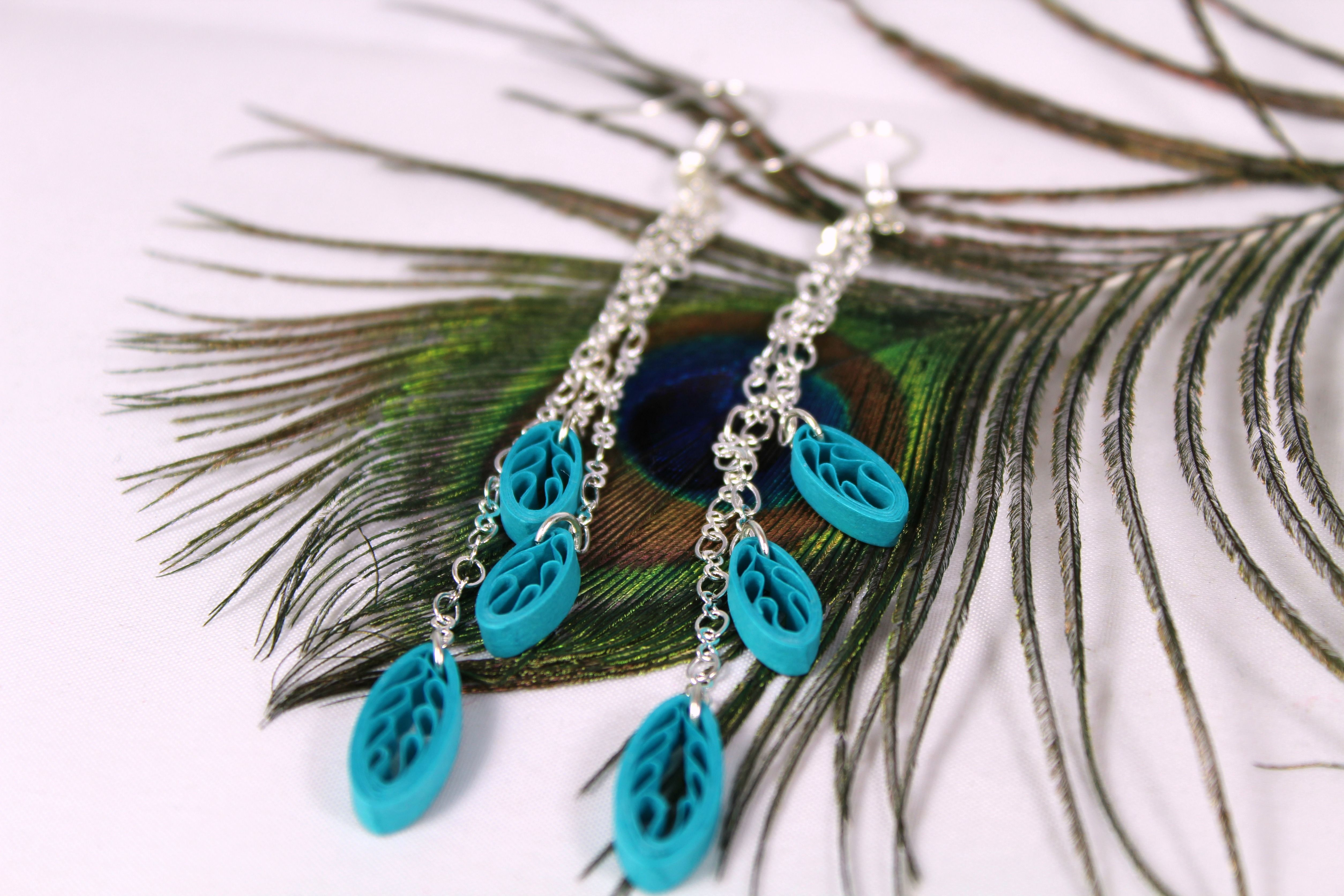 Dangle fringe colorful quilled leaf earrings bohostyle lilacs and