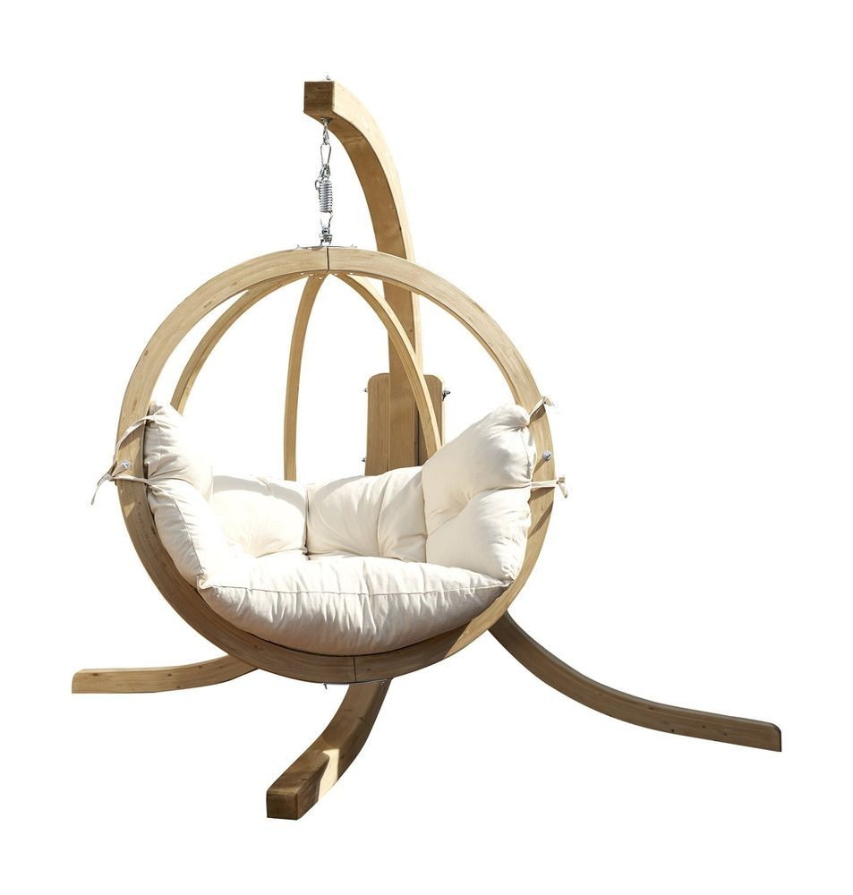 ROUND WOODEN GARDEN SWING SEAT INCLUDING CUSHION & FRAME rotating ...