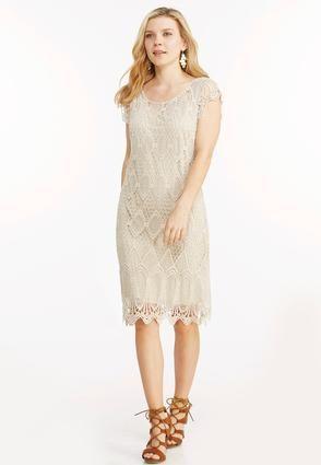 Cato Fashions Crochet Overlay Sheath Dress-Plus ...