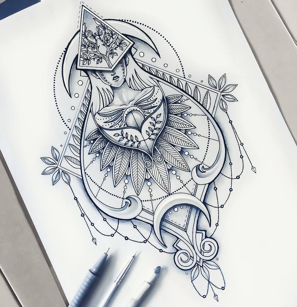 Sketch Tattoo Ideas Pinterest: Geometrical Drawing Detailed Illustration @saphiriart On