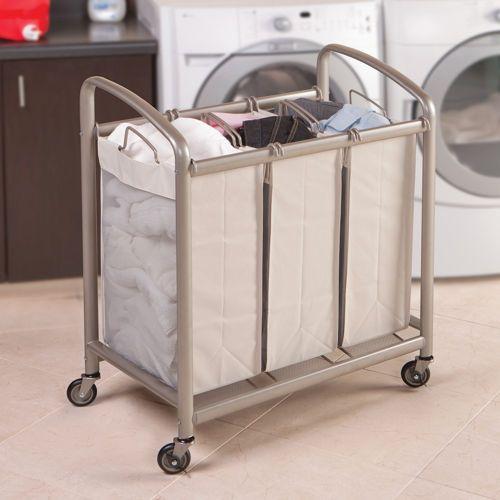 Seville Classics 3 Bag Laundry Sorter Laundry Sorter Laundry