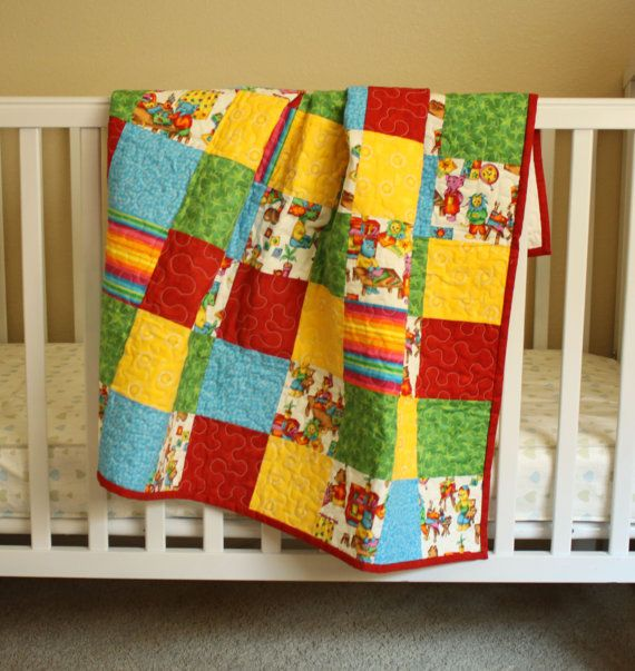 Organic Baby Quilt Baby Quilt Elephant Quilt Blue Chevron Quilt Unisex Baby Quilt READY TO SHIP Bamboo Batting