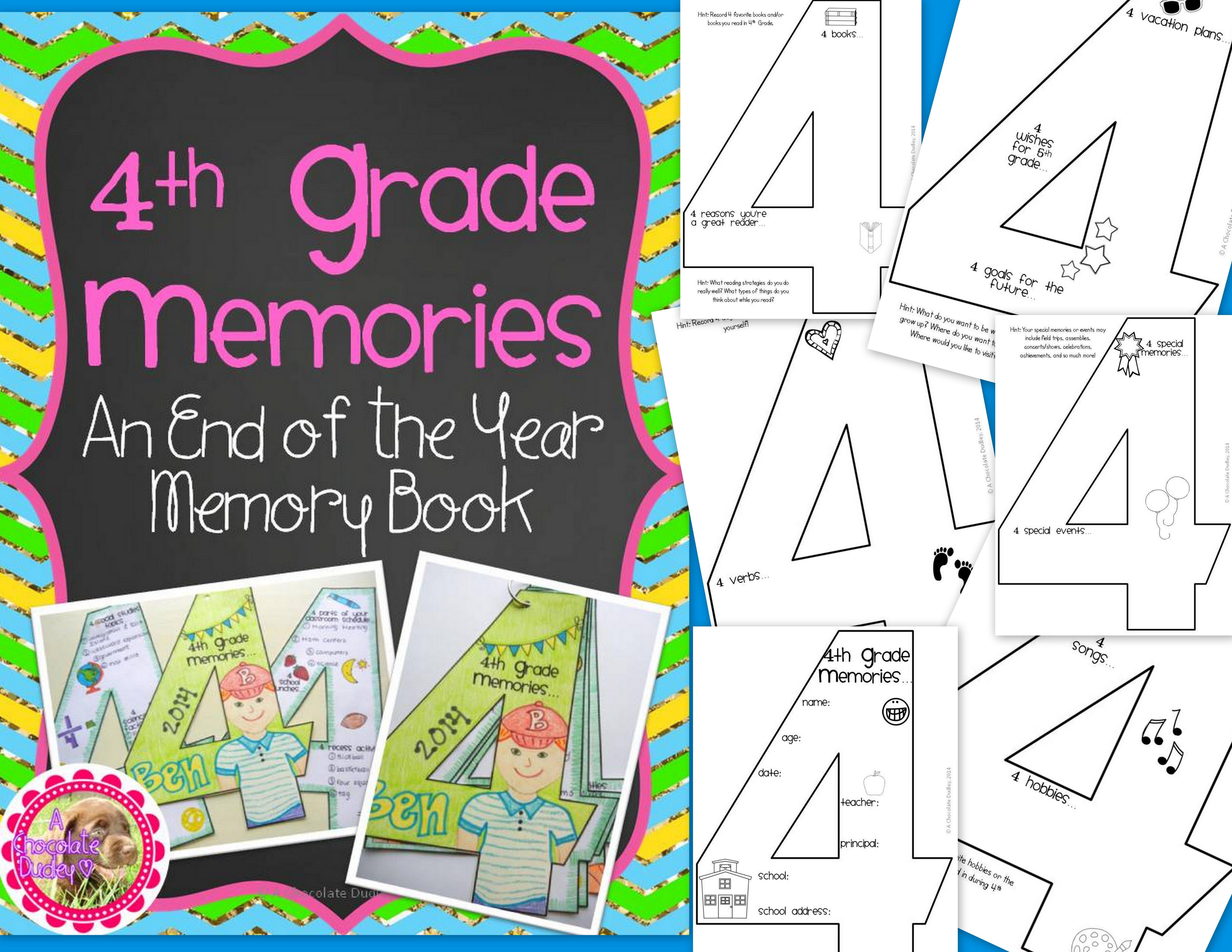 4th Grade Memories End Of Year Memory Book Teaching Upper Elementary Classroom Art