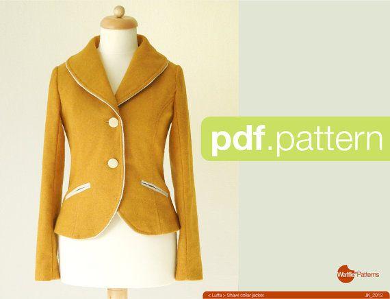 PDF sewing pattern. Women Shawl collar jacket -Luffa- (size 34-48 ...