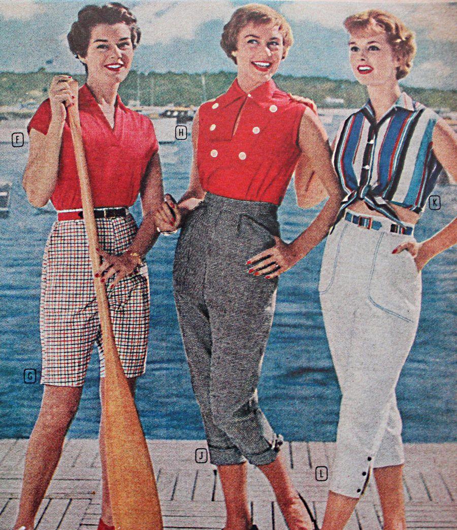 Women' 1950s Pants Cigarette Capri Jeans Fashion