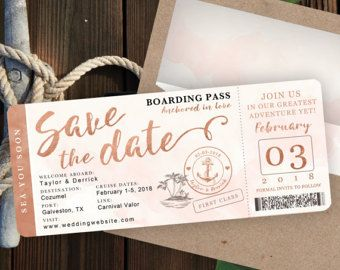 Destination Wedding Invitation – Passport Invitation – Tropical Invitation Set in Rose Gold and Blush Watercolor by Luckyladypaper