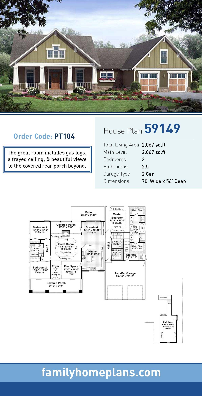 Craftsman House Plan 59149 Total Living