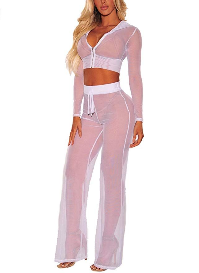61ee9d2858 Women See Through Sheer Mesh Hoodie Crop Tops and Legging Pants Sexy 2pcs Bikini  Swimsuit Cover-ups Beach Outfits at Amazon Women's Clothing store: