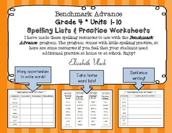 Benchmark Advance* Grade 4 Spelling Lists and Practice ...