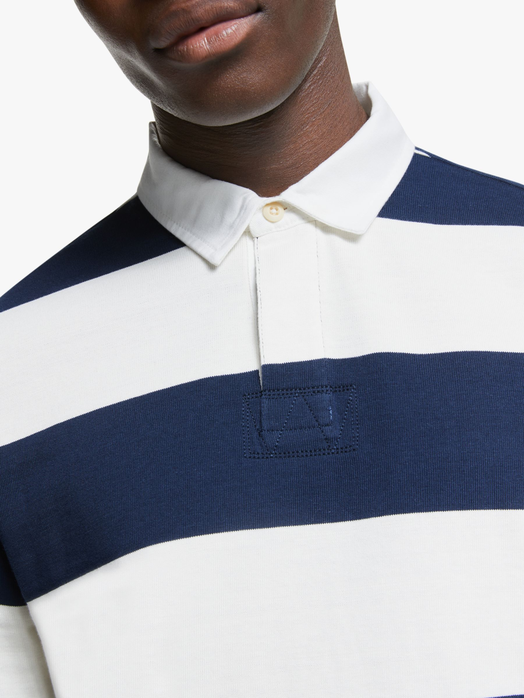 Partners Wide Stripe Rugby Top Navy White Wide Stripes Navy White Preppy Style